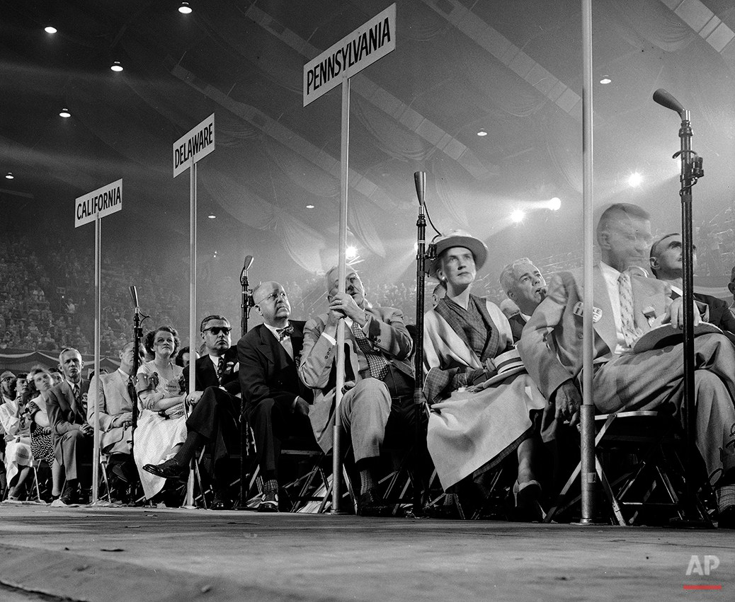 Delegates to the Republican National Convention in Chicago listen to a speech by former U.S. President Herbert Hoover July 8, 1952. (AP Photo/William Smith)