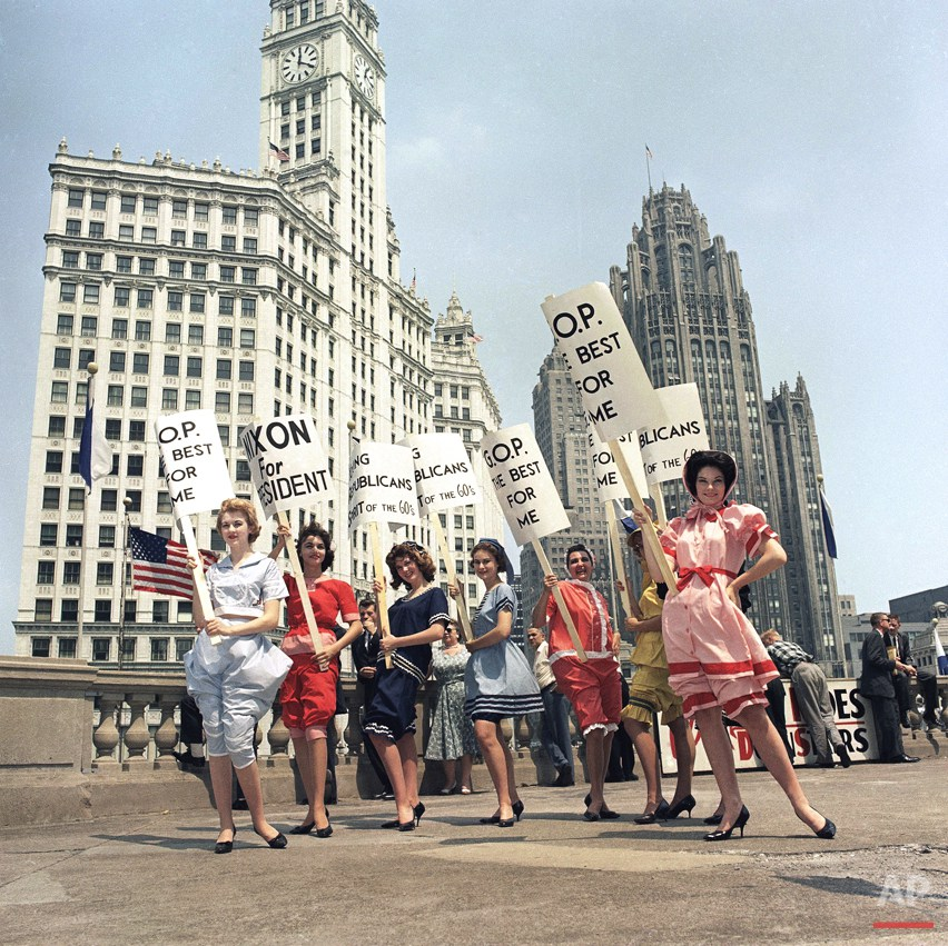 Vice President Richard Nixon demonstration and demonstrators outside Blackstone Hotel, Chicago in July 1960. (AP Photo)