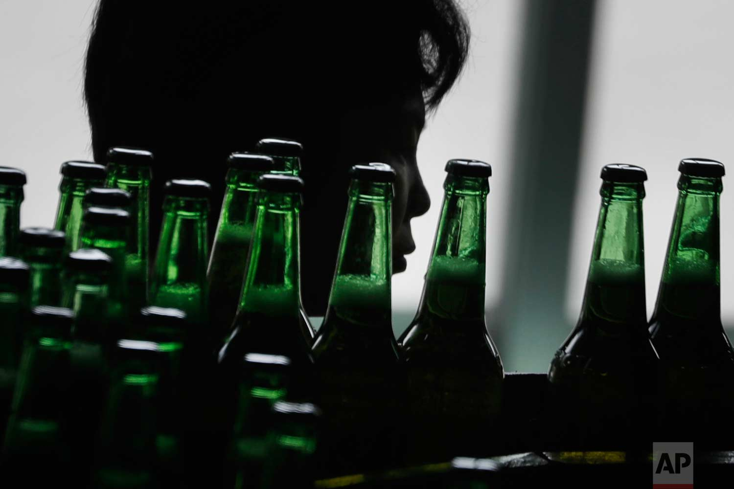In this Wednesday, July 26, 2017, photo, a worker is seen in silhouette as bottles of beer pass her on a conveyor belt at the Taedonggang Brewery on Wednesday, July 26, 2017, in Pyongyang, North Korea. (AP Photo/Wong Maye-E)