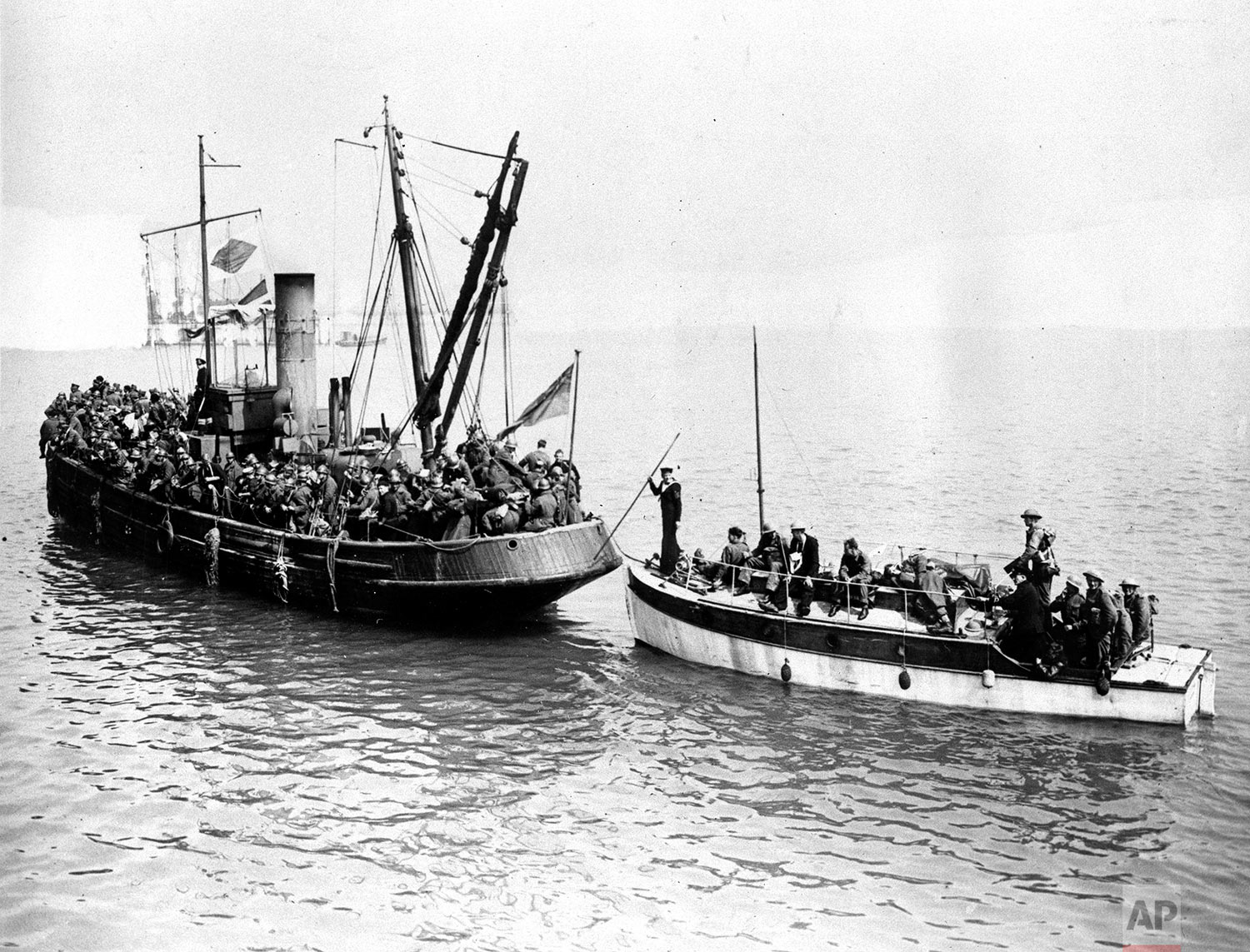 Two of the many small boats which helped to bring the Allied troops in the emergency evacuation across the English Channel from Dunkirk, France, are shown on June 4, 1940 in World War II. (AP Photo)
