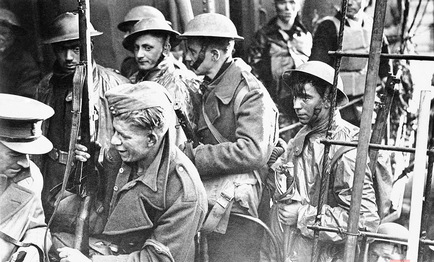 British expeditionary troops arriving home from Dunkirk, somewhere near the English coast, June 6, 1940. (AP Photo)