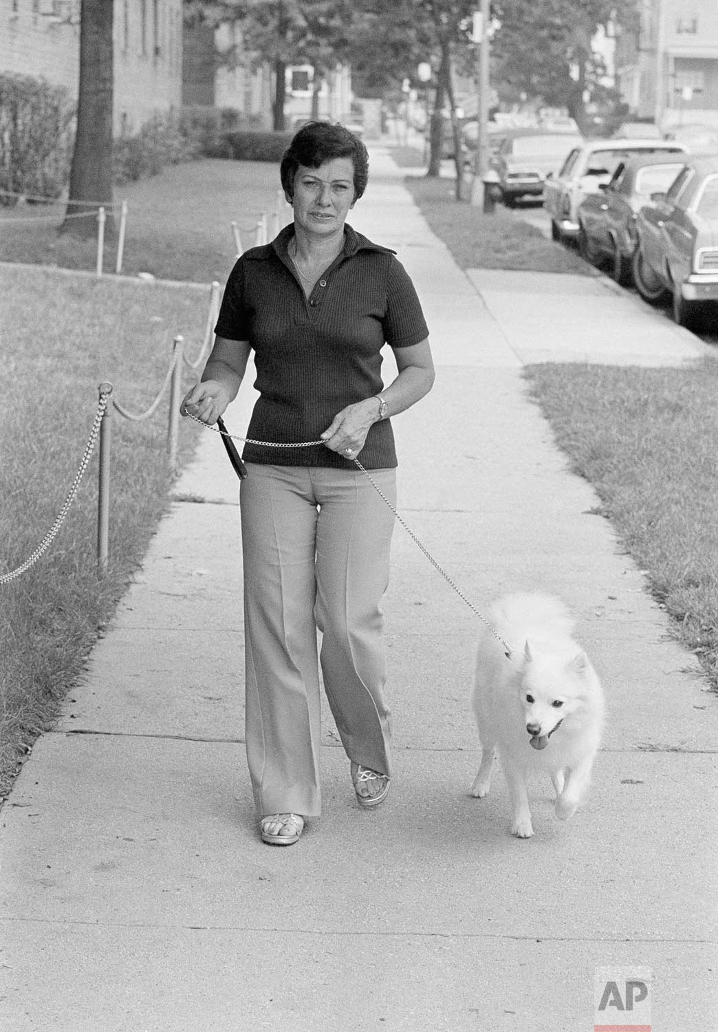 "Mrs. Cecilia Davis walks her dog, ""Snowball"" in front of her apartment, Friday, Aug. 12, 1977 about a block from the spot where ""Son of Sam"" shot Stacy Moskowitz to death and blinded her date. The Austrian-born Mrs. Davis, gave police the key tip which led to the arrest of David Berkowitz in Yonkers. In a story in the New York Daily News, she said she had come face to face with the gunman the night Miss Moskowitz was shot. (AP Photo/Ira Schwartz)"