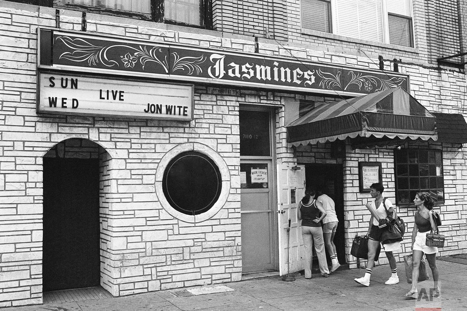 Exterior of Jasmine's discoteque at 7112 3rd Ave., in Brooklyn, July 31, 1977. (AP Photo/Ira Schwartz)
