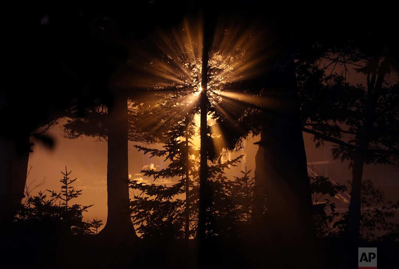 A light on a dock illuminates the early morning fog on Hodgdon Island, Friday, July 21, 2017, in Boothbay, Maine. (AP Photo/Robert F. Bukaty)