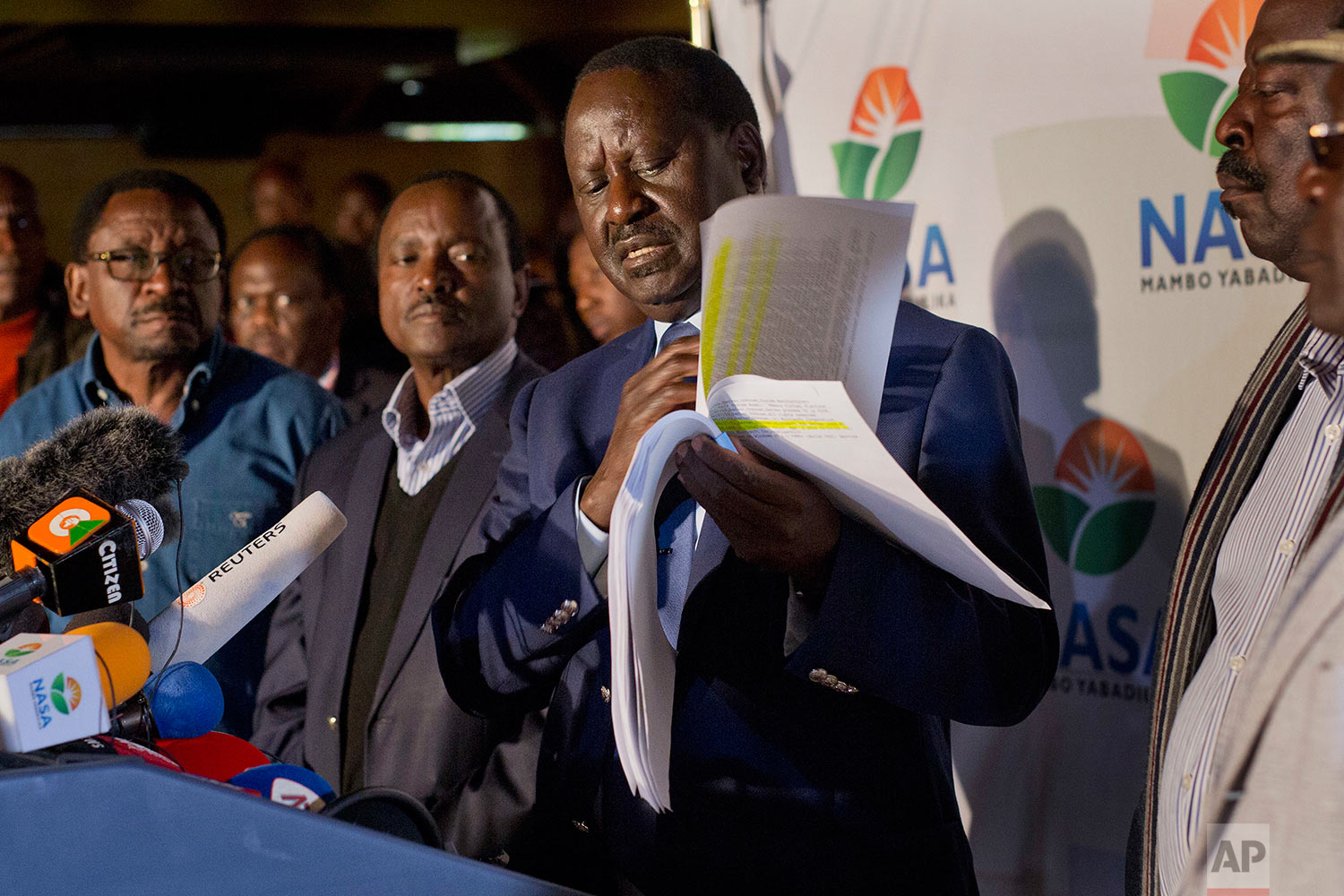 Opposition leader and presidential candidate Raila Odinga addresses a news conference in Nairobi, Kenya, Wednesday, Aug. 9, 2017. Odinga says hackers infiltrated the database of the country's election commission and manipulated the results. Early results show President Uhuru Kenyatta with a wide lead over Odinga. (AP Photo/Jerome Delay)