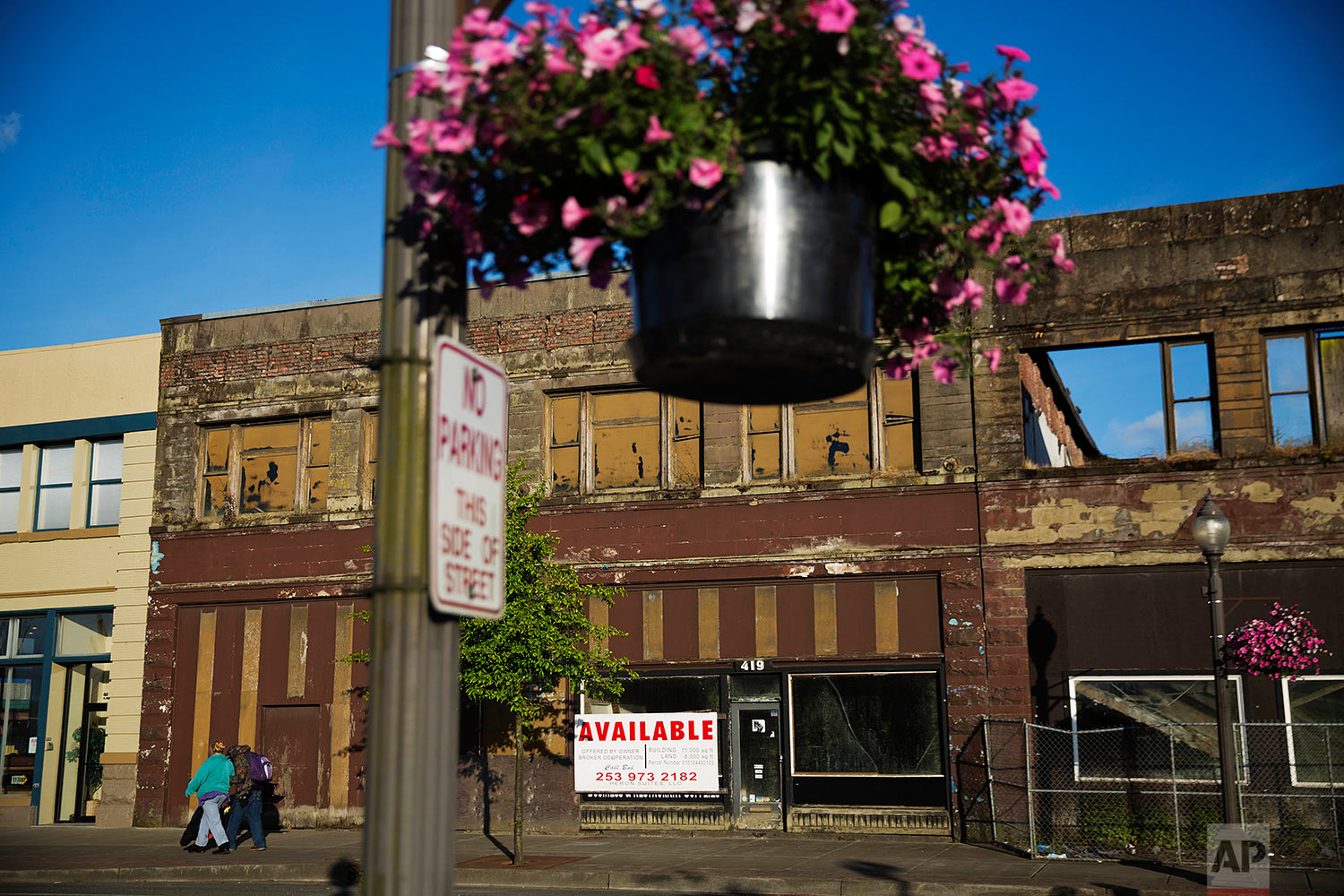 Dilapidated storefronts stand along baskets of pink petunias that hang from light posts all over town, watered regularly by residents trying to make their city feel alive again in Aberdeen, Wash., Friday, June 16, 2017. Six months into Trump's presidency, his supporters in this county, battered by drugs and death, maintain differing degrees of faith that he will make good on his promise to fix the rotting working class economy at the root of this plague on their doorstep. (AP Photo/David Goldman)