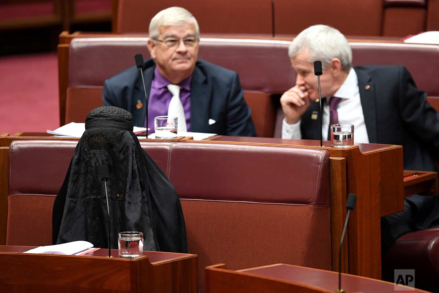 Sen. Pauline Hanson, bottom left, wears a burqa during question time in the Senate chamber at Parliament House in Canberra, Australia, Thursday, Aug. 17, 2017. (Lukas Coch/AAP Image via AP)