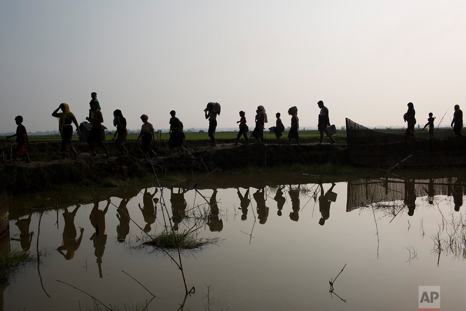 Members of Myanmar's Rohingya ethnic minority walk through rice fields after crossing the border into Bangladesh near Cox's Bazar's Teknaf area, Tuesday, Sept. 5, 2017. (AP Photo/Bernat Armangue)
