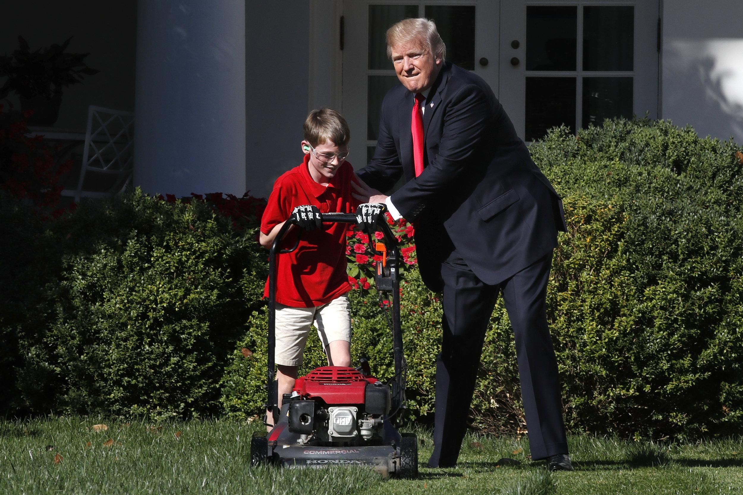 Trump Lawn Mowing Boy