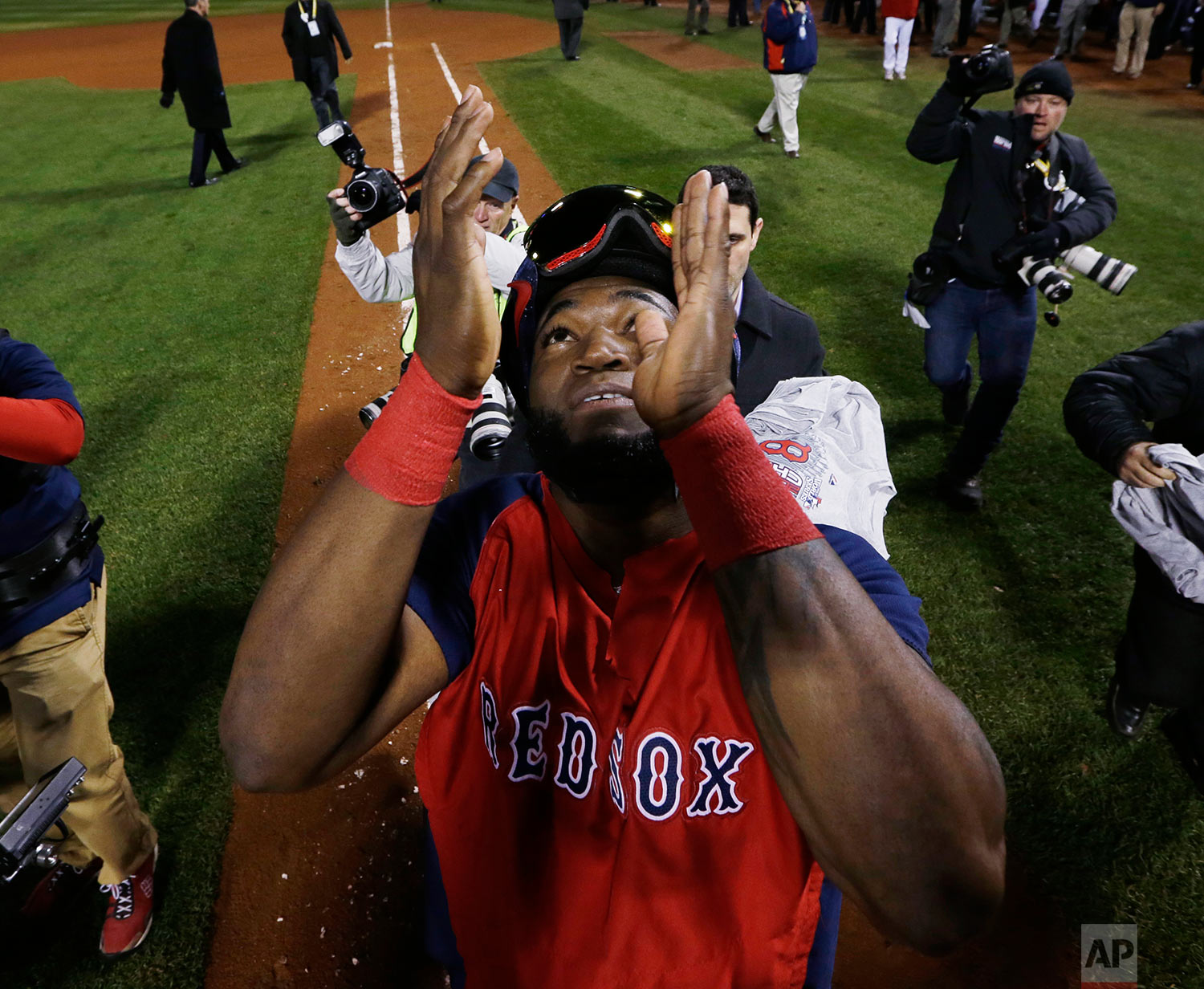 Game 6 of baseball's World Series Wednesday, Oct. 30, 2013, in Boston. The Red Sox won 6-1 to win the series. (AP Photo/David J. Phillip)