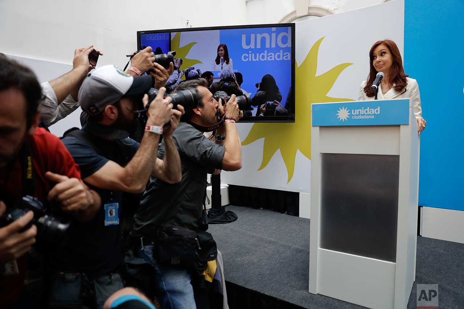 Argentina's former President Cristina Fernandez speaks at a press conference in Buenos Aires, Argentina, Tuesday, Oct. 10, 2017. (AP Photo/Natacha Pisarenko)