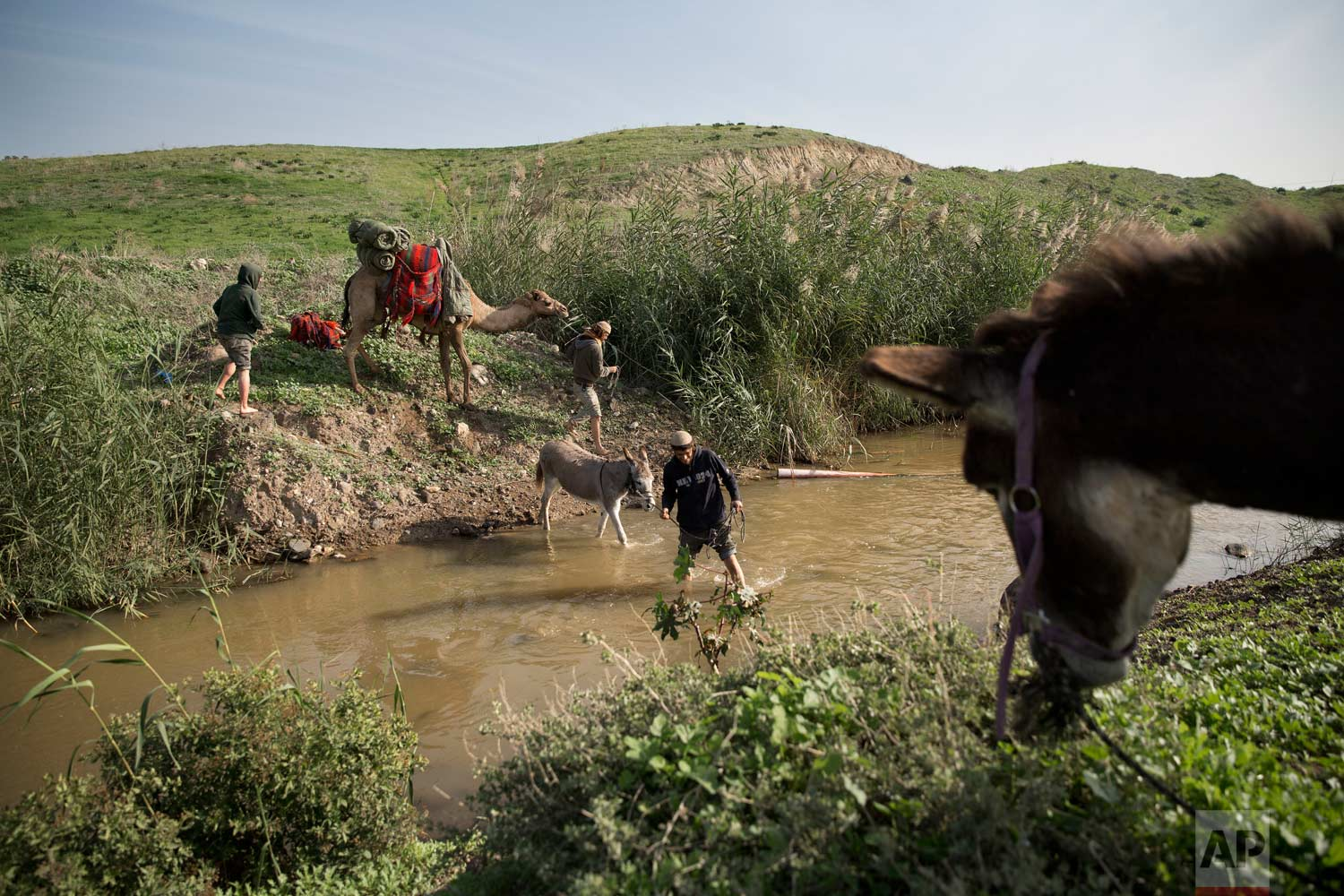 In this Tuesday, Jan. 17, 2017 photo, Israelis cross the Jordan River as part of their tour near the Israeli village of Menahemia. (AP Photo/Oded Balilty)