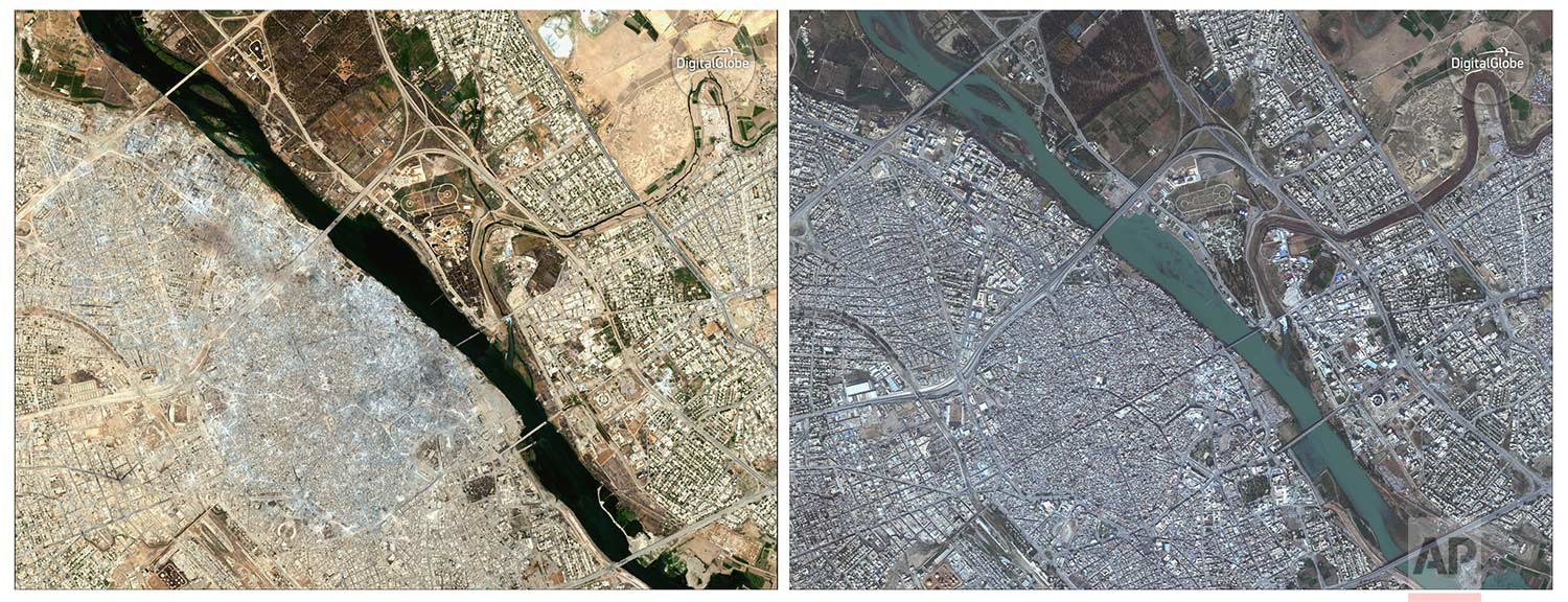 This combination of two satellite image released by DigitalGlobe shows the Old City of Mosul, Iraq on July 8, 2017 after a punishing nine month battle to oust Islamic State militants, left, and on Nov. 13, 2015, right.(DigitalGlobe via AP)