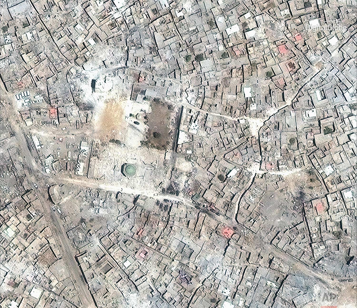 This satellite image released by DigitalGlobe shows what remains of the al-Nuri Mosque in Mosul, Iraq on July 8, 2017.(DigitalGlobe via AP)