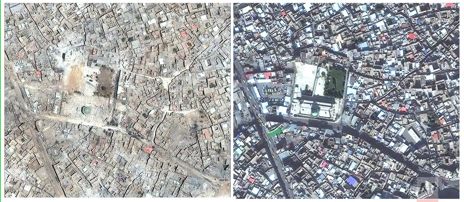 This combination of two satellite image released by DigitalGlobe shows the al-Nuri Mosque in Mosul, Iraq on July 8, 2017 after a punishing nine month battle to oust Islamic State militants, left, and on Nov. 13, 2015, right.(DigitalGlobe via AP)