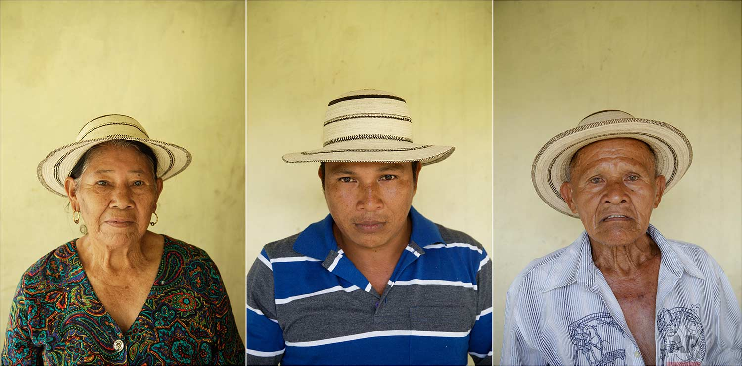 In this combination of photos taken on Saturday, Dec. 16, 2017, Anasaria Ortiz, 74, left, herson Juan Carlos Gutierrez, 37, center, and her husband Pasion Gutierrez, 81, pose for a portrait wearing traditional Panamanian pintao hats in El Jaguito, Panama. (AP Photo/Arnulfo Franco)