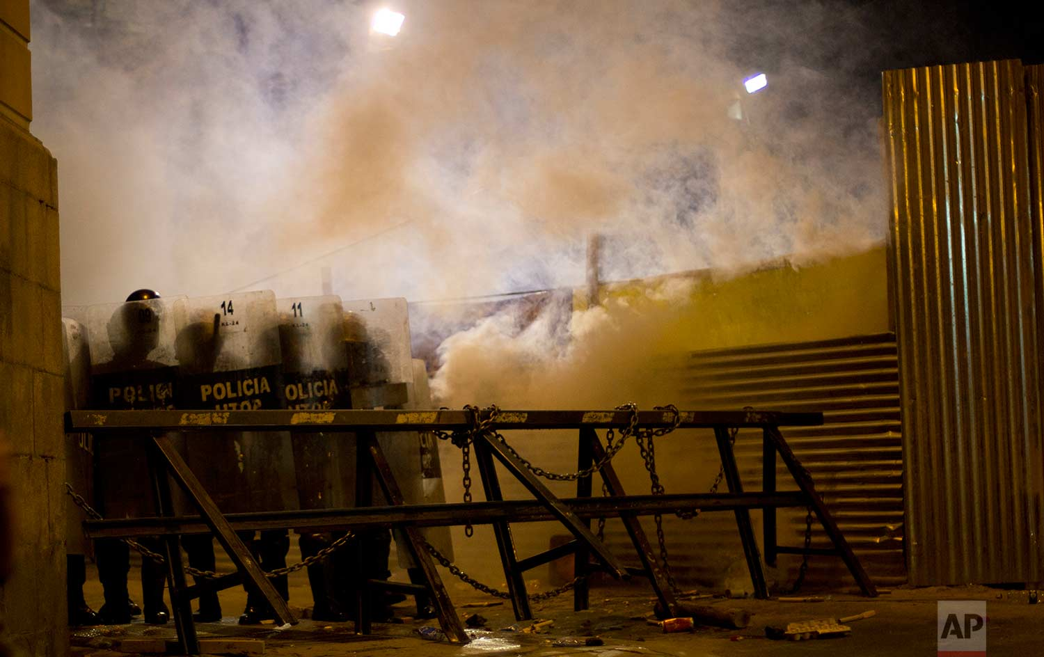 In this Friday, Dec. 15, 2017 photo, police block protesters from reaching the National Palace during clashes with students protesting in solidarity with striking doctors in La Paz, Bolivia. (AP Photo/Juan Karita)