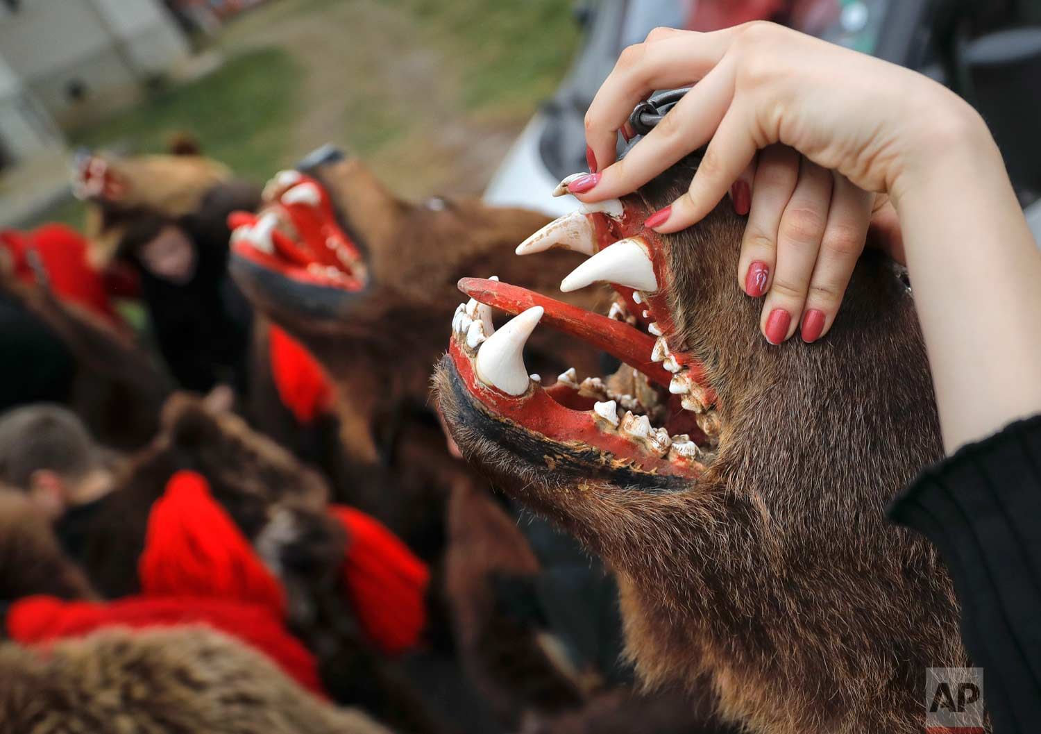 In this Saturday, Dec. 30, 2017, picture Raluca Atrejei stretches her hands during an annual bear parade in Comanesti, Romania. (AP Photo/Vadim Ghirda)