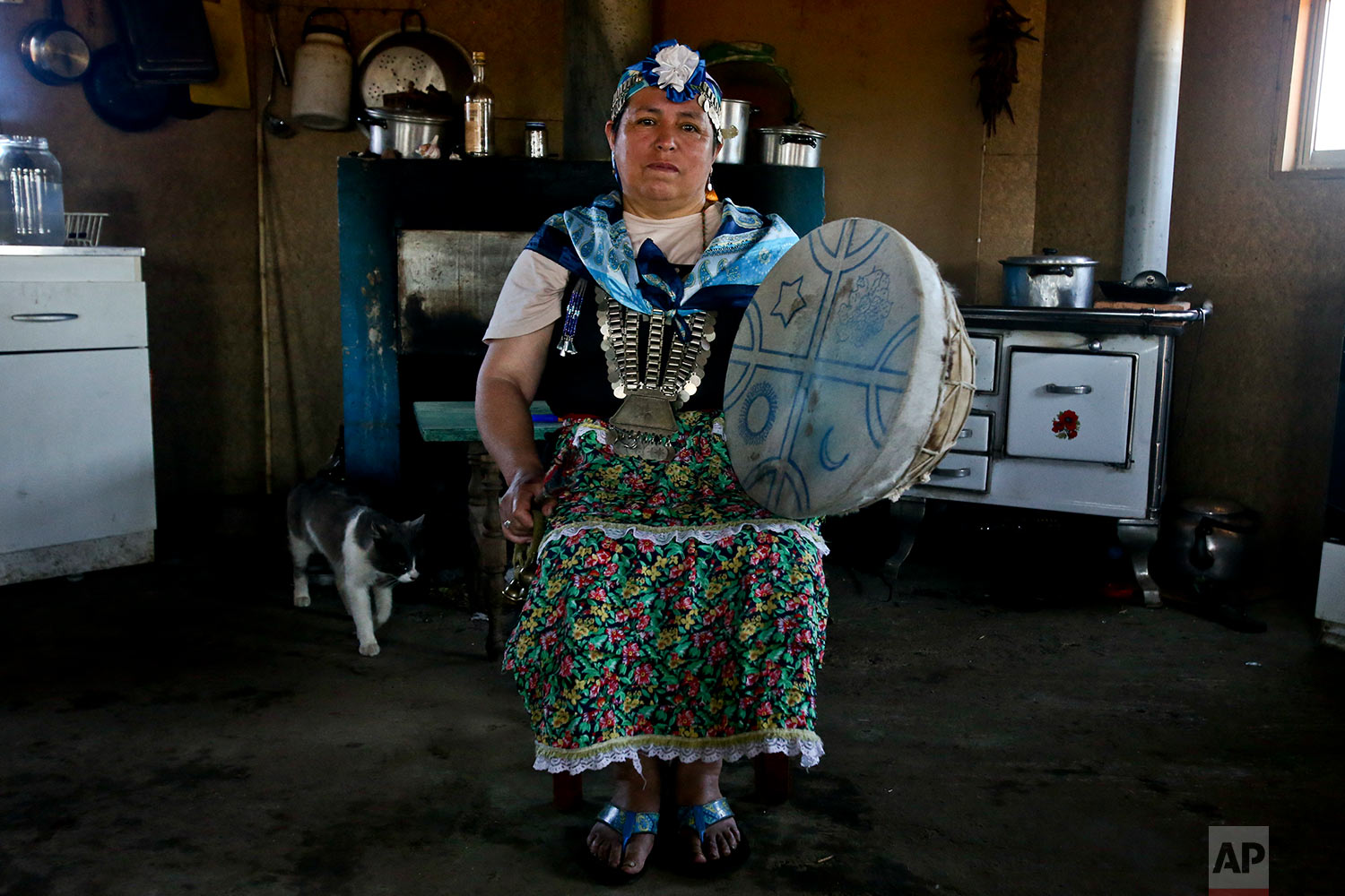 """In this Jan. 8, 2018 photo, Kallfurayen Llanquileo, a Mapuche healer and religious leader known as a """"Machi,"""" poses for a photo with her shaman drum at her home in the Mapuche community Enoco in Temuco, Chile.(AP Photo/Esteban Felix)