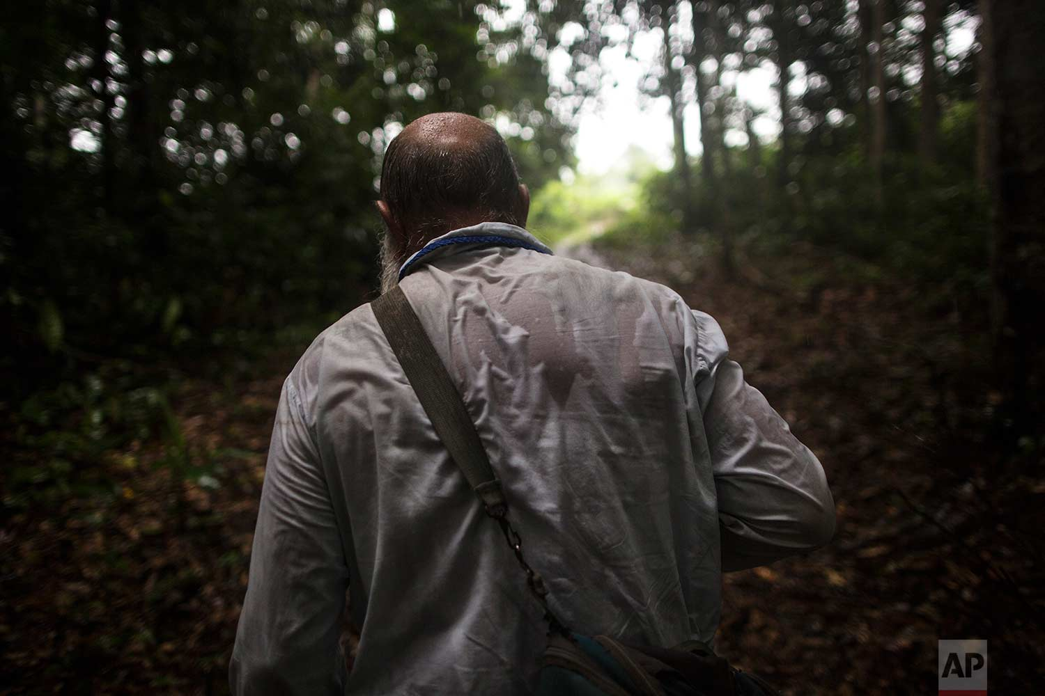 In this Jan. 15, 2018 photo, Father Pablo Zabala, better known as Padre Pablo, makes his way through the jungle under a heavy rain to the rural home of a parishioner in Boca Colorado, part of Peru's Madre de Dios region in the Amazon. (AP Photo/Rodrigo Abd) |  See these photos on AP Images
