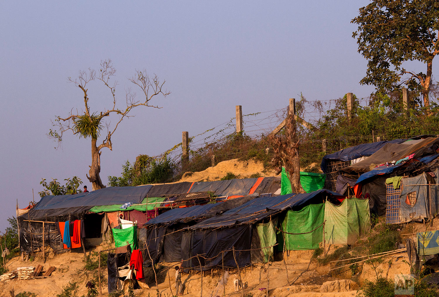 In this Tuesday, Jan. 23, 2018, photo, Rohingya refugees and their makeshift shelters are seen next to the Bangladesh Myanmar border at Tumru, near Cox's Bazar, Bangladesh.(AP Photo/Manish Swarup)  See these photos on AP Images