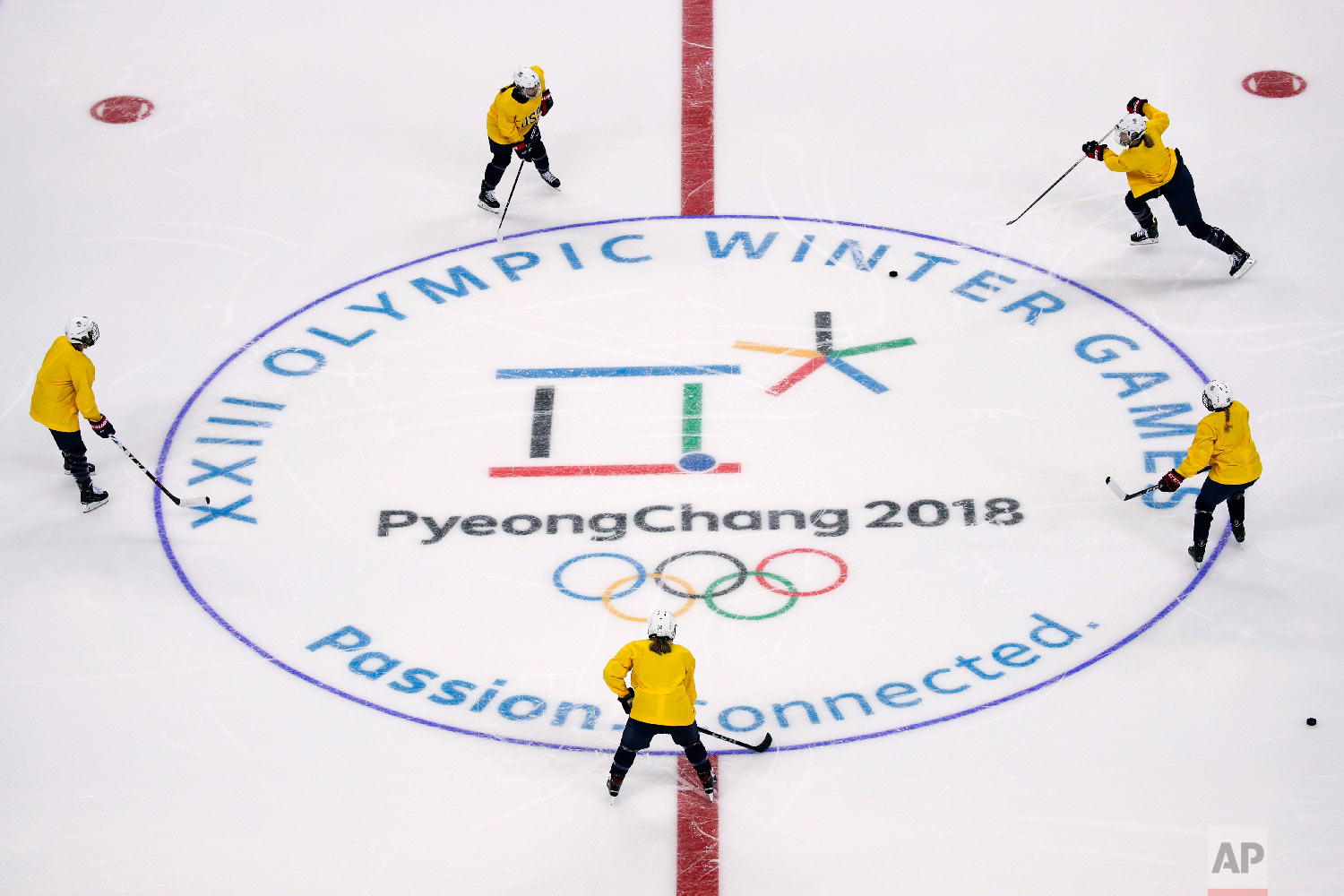 United States women's ice hockey players train during a practice session prior to the 2018 Winter Olympics in Gangneung, South Korea, Sunday, Feb. 4, 2018. (AP Photo/Jae C. Hong)