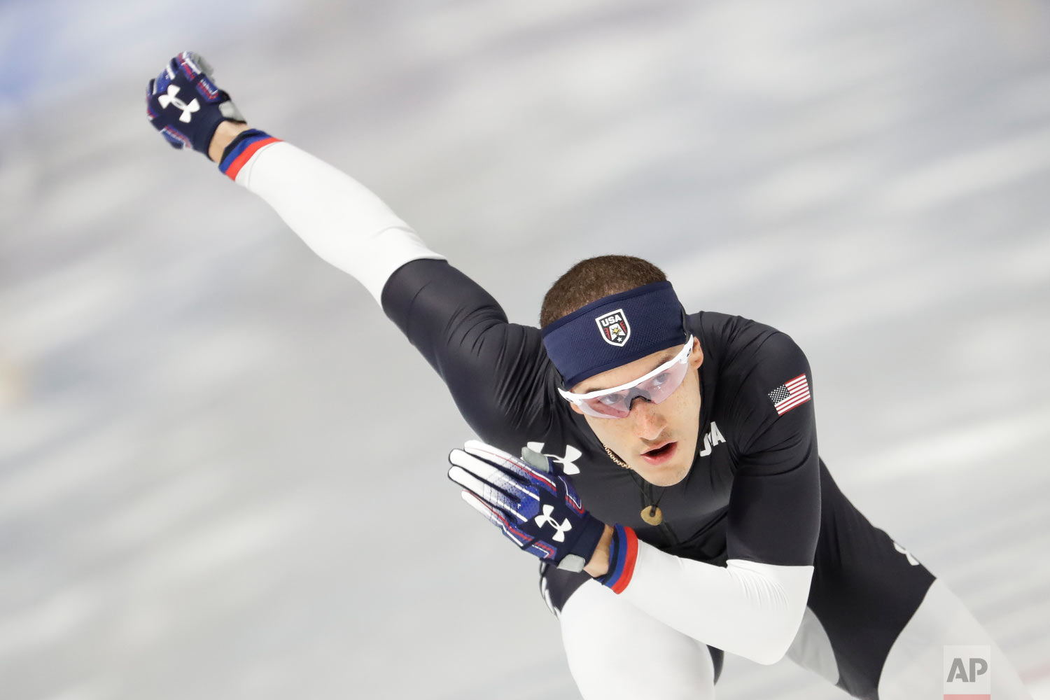 United States' Kimani Griffin skates during a Speed Skating training session prior to the 2018 Winter Olympics in Gangneung, South Korea, Monday, Feb. 5, 2018. (AP Photo/Felipe Dana)
