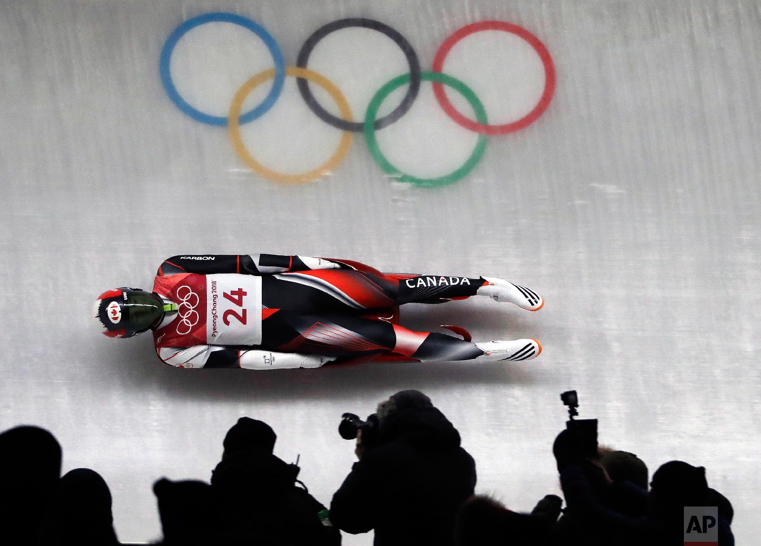 Reid Watts of Canada competes during final heats of the men's luge competition at the 2018 Winter Olympics in Pyeongchang, South Korea, Sunday, Feb. 11, 2018. (AP Photo/Wong Maye-E)