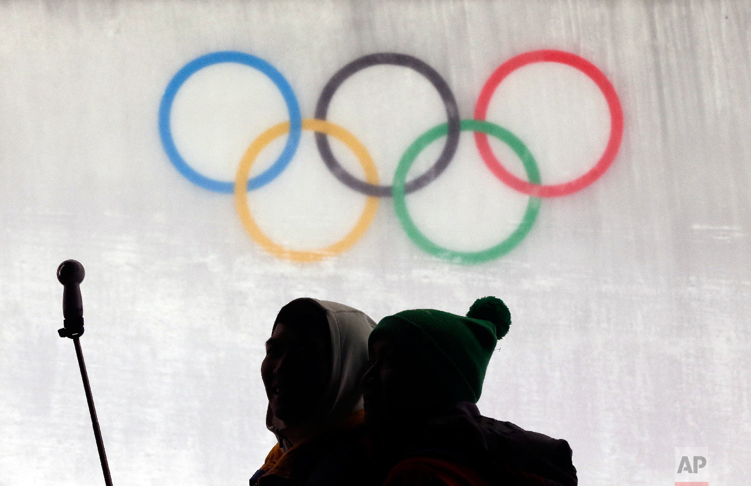 Fans take a photo during the men's luge at the 2018 Winter Olympics in Pyeongchang, South Korea, Saturday, Feb. 10, 2018. (AP Photo/Andy Wong)