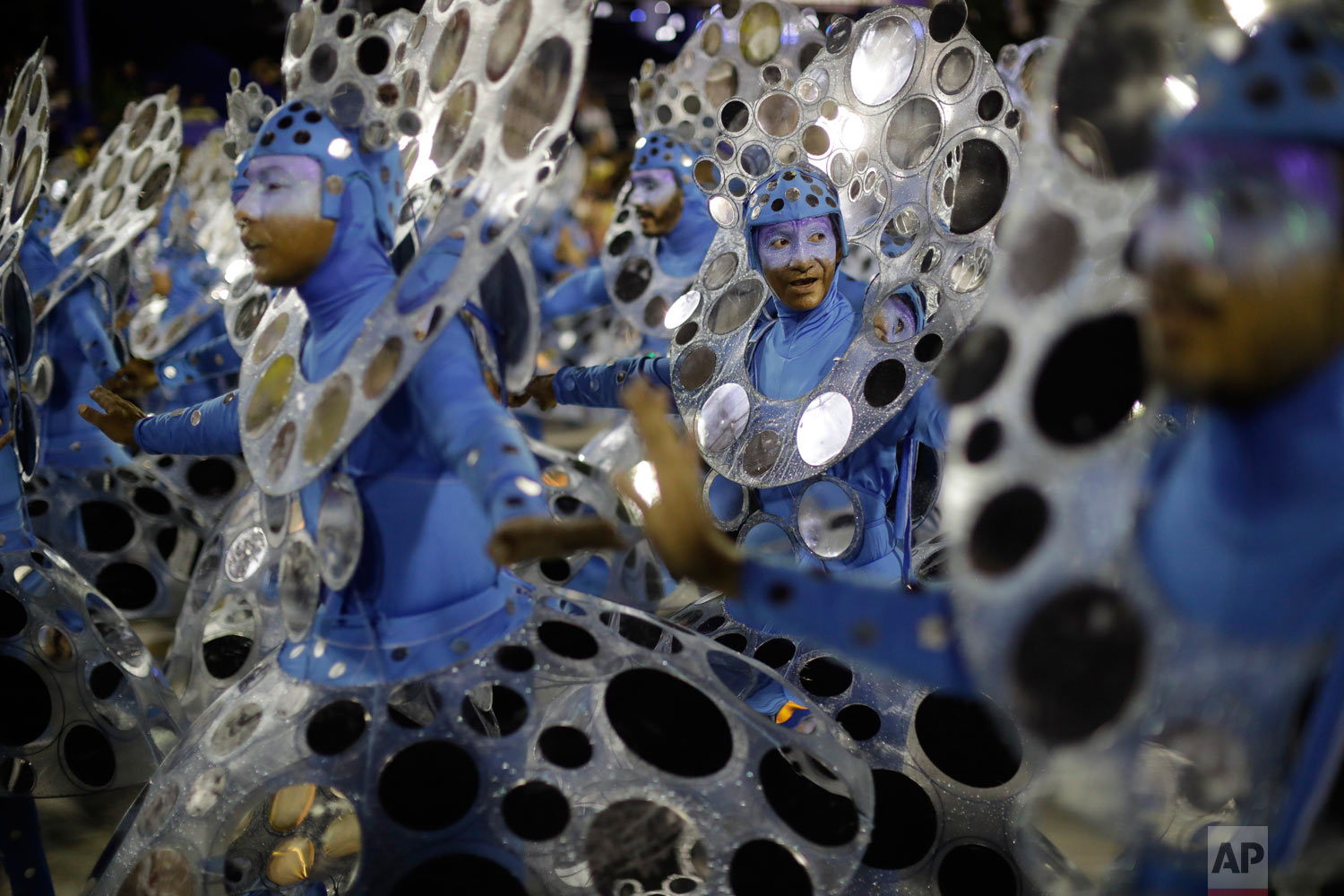 Performers from the Portela samba school parade during Carnival celebrations at the Sambadrome in Rio de Janeiro, Brazil, Monday, Feb. 12, 2018. (AP Photo/Leo Correa)