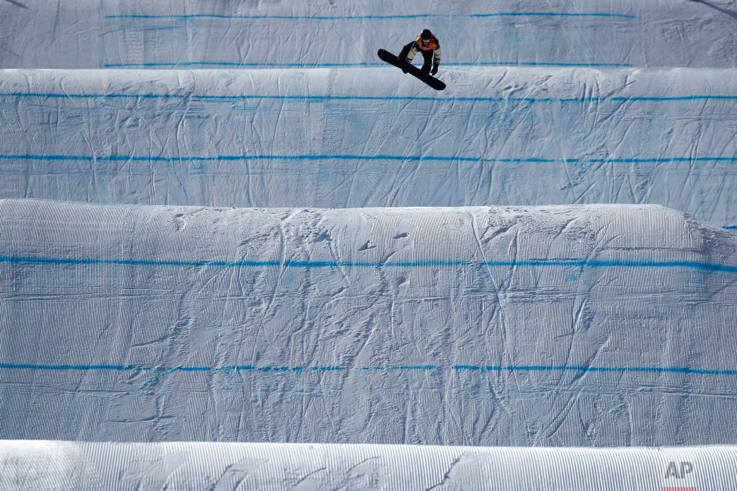 Max Parrot, of Canada, jumps during the men's slopestyle final at Phoenix Snow Park at the 2018 Winter Olympics in Pyeongchang, South Korea, Sunday, Feb. 11, 2018. (AP Photo/Jae C. Hong)