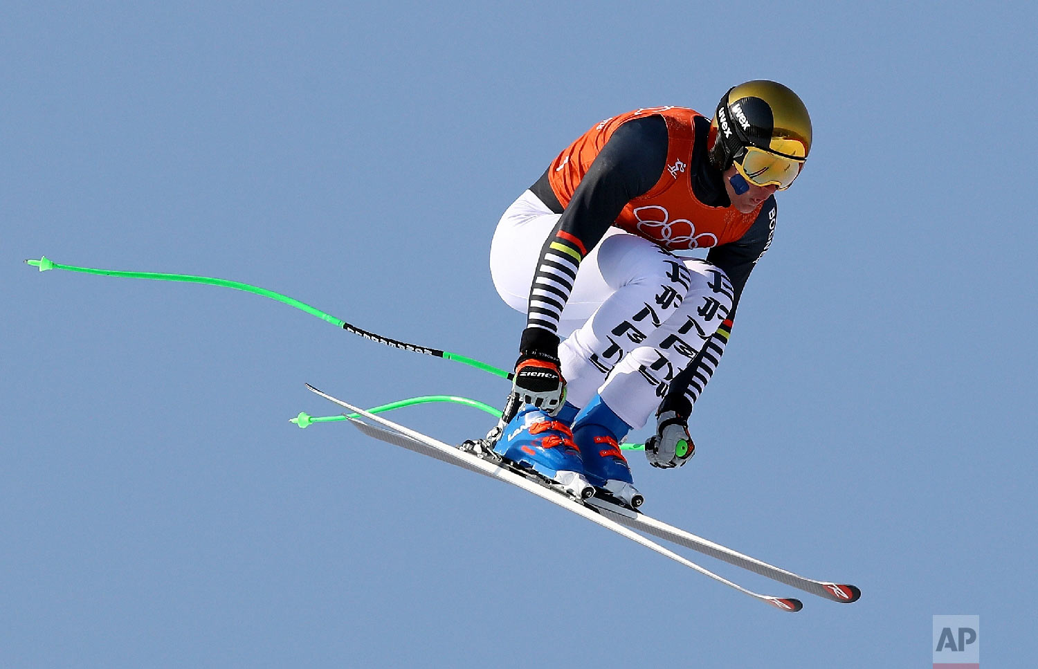 Germany's Thomas Dressen makes a jump in Men's Downhill training at the 2018 Winter Olympics in Jeongseon, South Korea, Thursday, Feb. 8, 2018. (AP Photo/Alessandro Trovati)