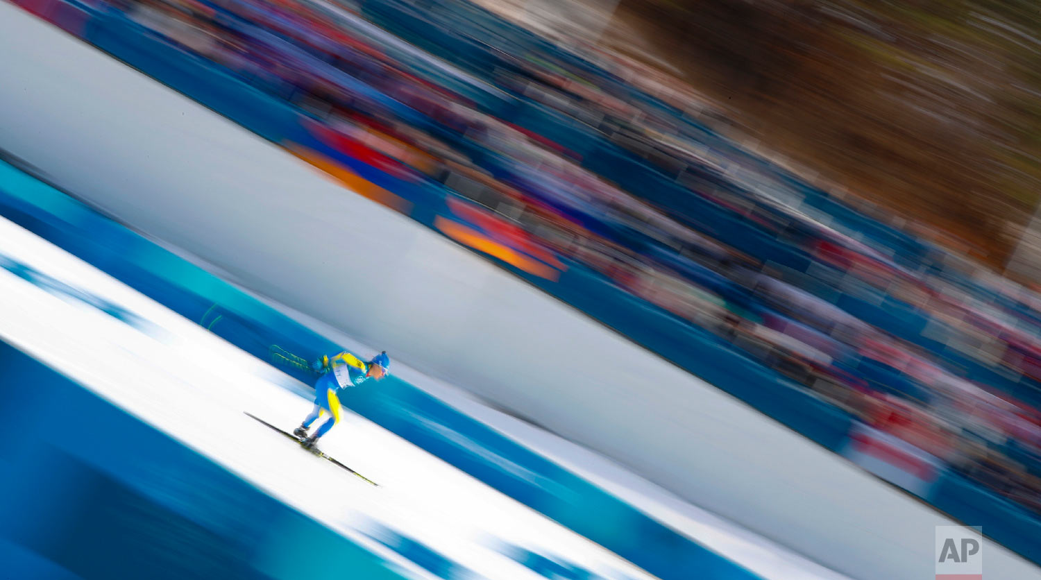 Maryna Antsybor, of Ukraine, competes during the women's 10km freestyle cross-country skiing competition at the 2018 Winter Olympics in Pyeongchang, South Korea, Thursday, Feb. 15, 2018. (AP Photo/Matthias Schrader)