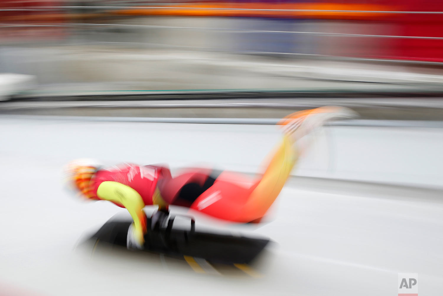 Jacqueline Loelling of Germany begins a training run for the women's skeleton at the 2018 Winter Olympics in Pyeongchang, South Korea, Wednesday, Feb. 14, 2018. (AP Photo/Patrick Semansky)