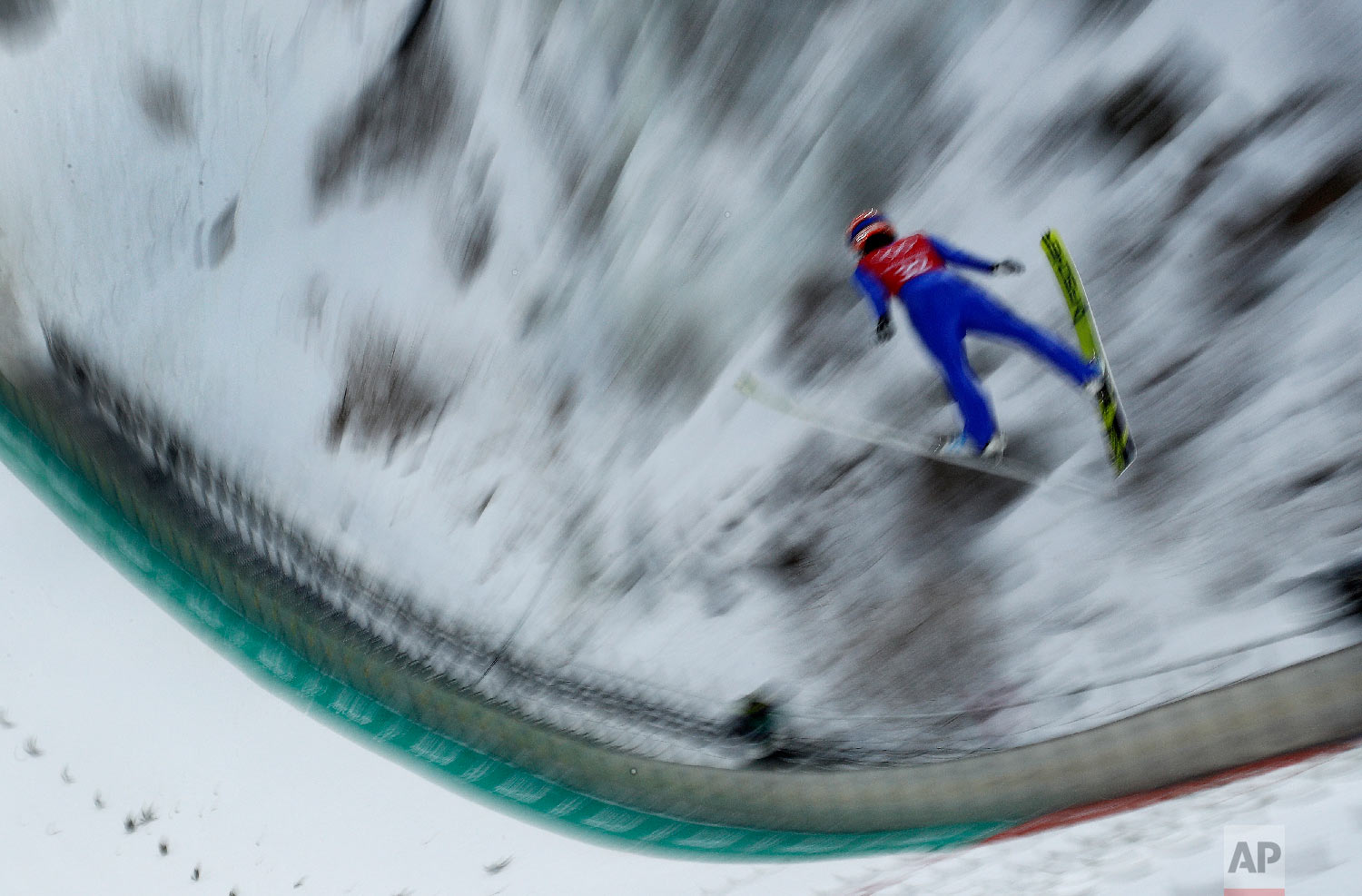 Yuki Ito, of Japan, practices for the women's ski jump competition in the 2018 Winter Olympics at the Alpensia Ski Jumping Center in Pyeongchang, South Korea, Saturday, Feb. 10, 2018. (AP Photo/Charlie Riedel)