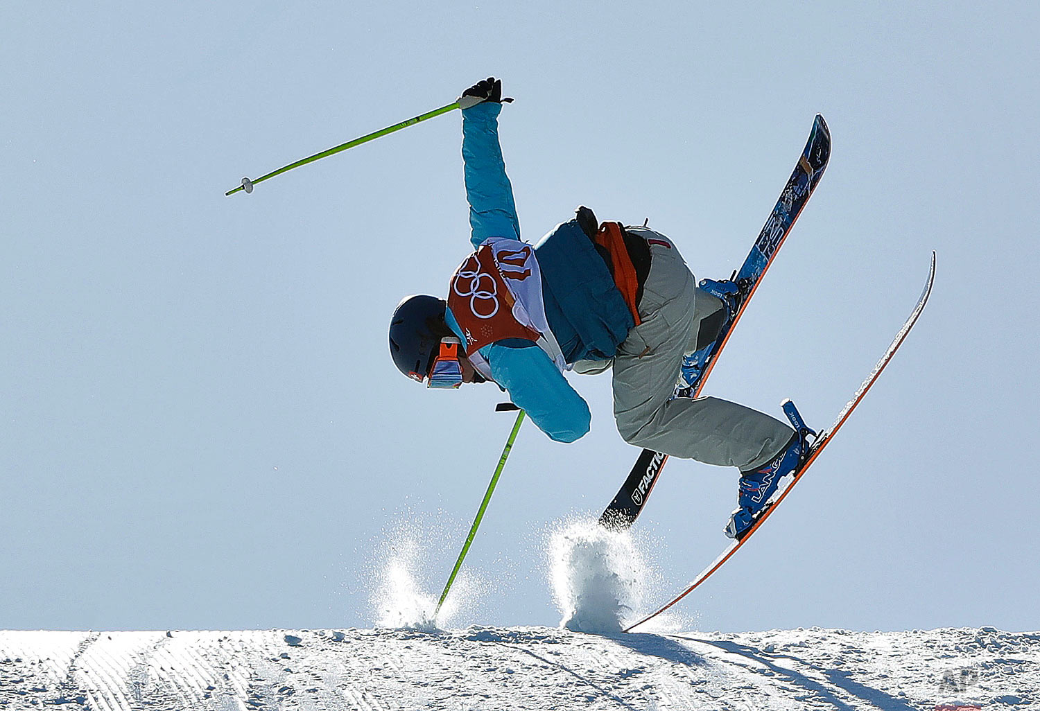 SarahHoefflin, of Switzerland, crashes during the women's slopestyle finals at Phoenix Snow Park at the 2018 Winter Olympics in Pyeongchang, South Korea, Saturday, Feb. 17, 2018. (AP Photo/Gregory Bull)
