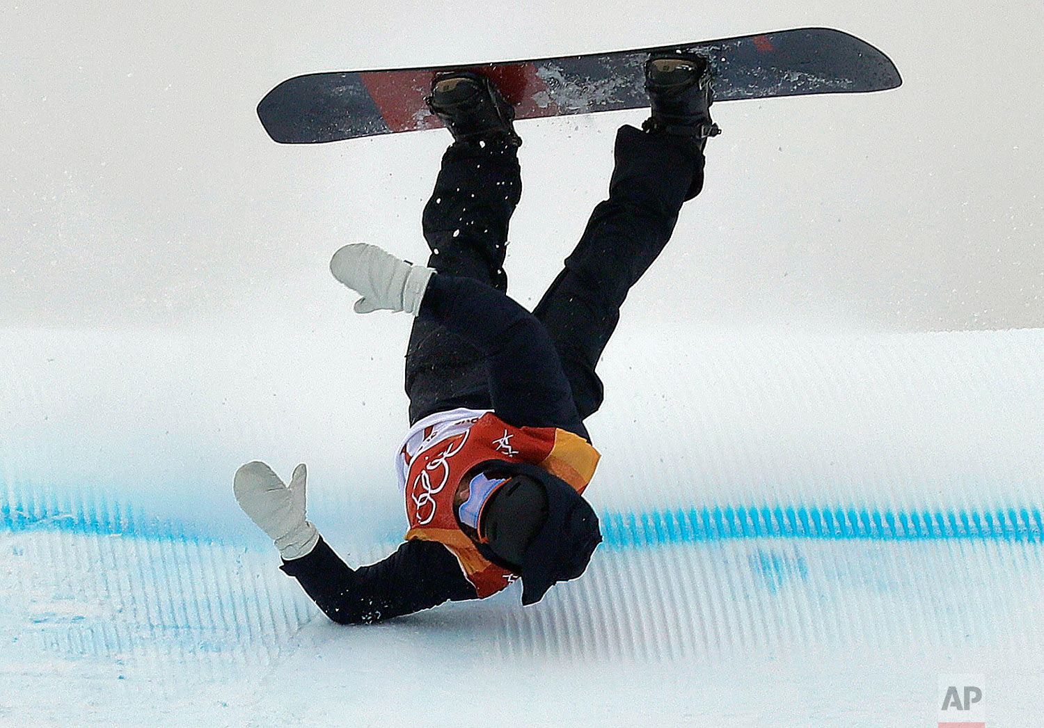 NiklasMattsson, of Sweden, crashes during the men's slopestyle qualifying at Phoenix Snow Park at the 2018 Winter Olympics in Pyeongchang, South Korea, Saturday, Feb. 10, 2018. (AP Photo/Kin Cheung)