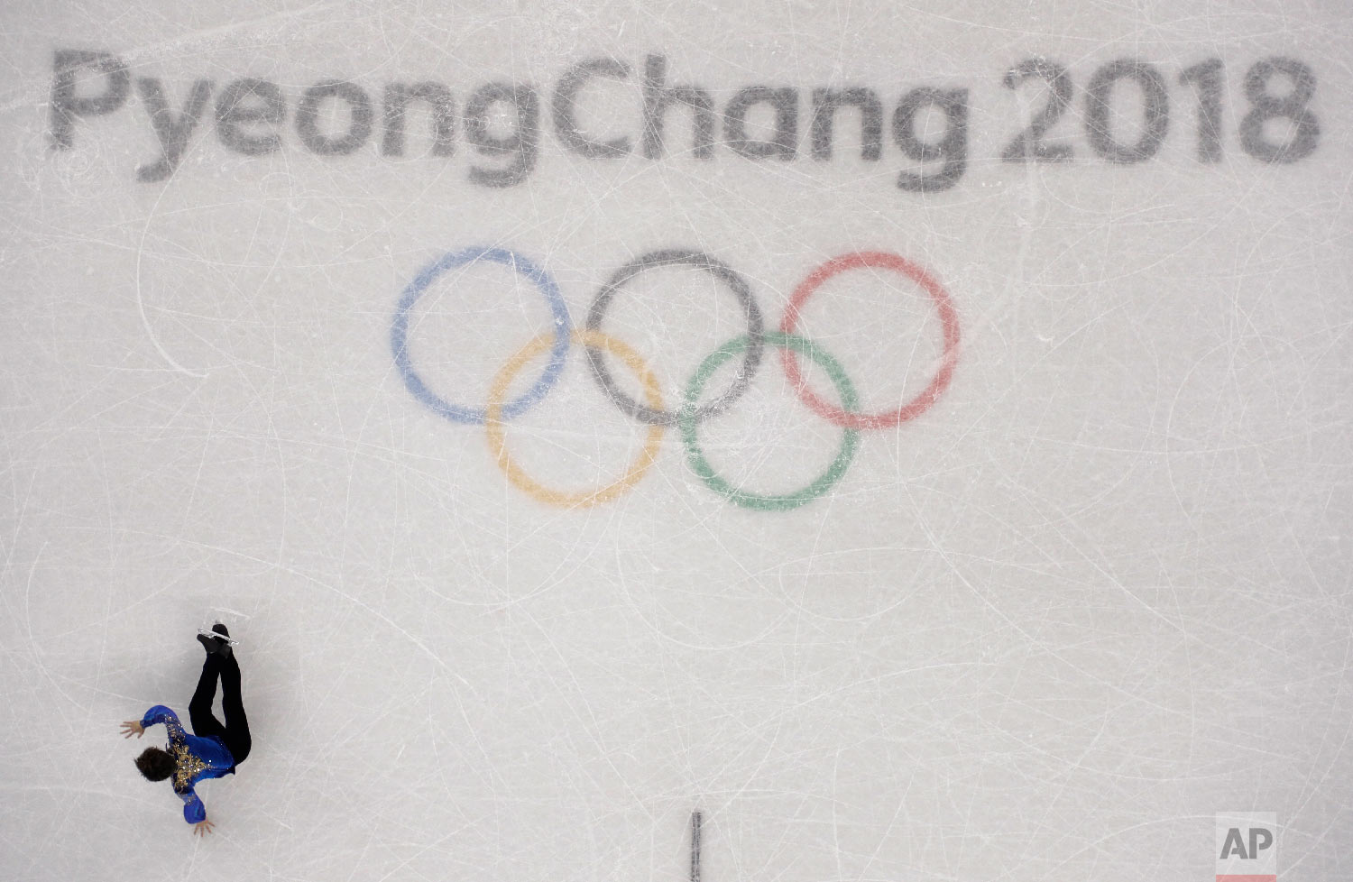 Shoma Uno of Japan falls during the men's free figure skating final in the Gangneung Ice Arena at the 2018 Winter Olympics in Gangneung, South Korea, Saturday, Feb. 17, 2018. (AP Photo/Morry Gash)