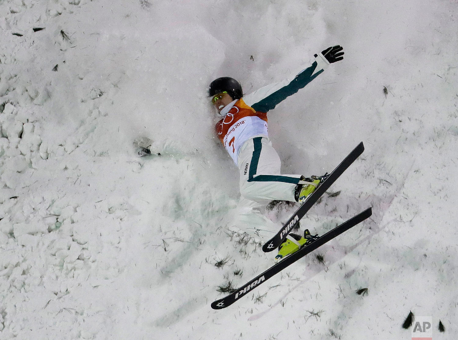 LauraPeel, of Australia, crashes during the women's freestyle aerial final at Phoenix Snow Park at the 2018 Winter Olympics in Pyeongchang, South Korea, Friday, Feb. 16, 2018. (AP Photo/Lee Jin-man)