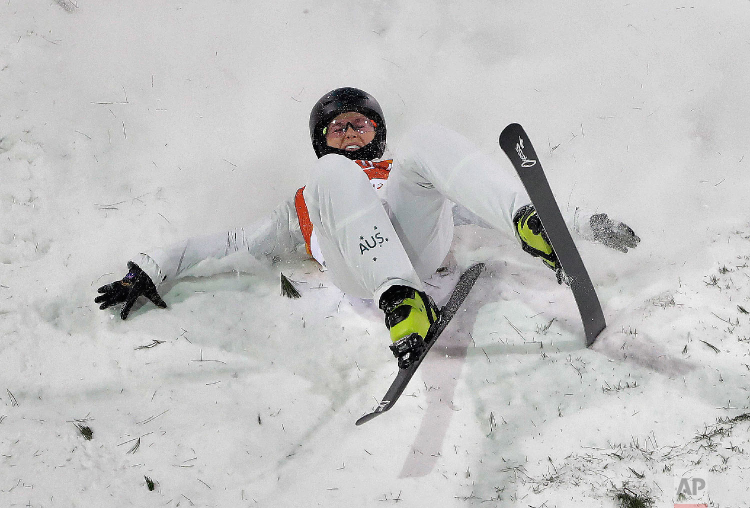 DanielleScott, of Australia, crashes during the women's freestyle aerial final at Phoenix Snow Park at the 2018 Winter Olympics in Pyeongchang, South Korea, Friday, Feb. 16, 2018. (AP Photo/Gregory Bull)