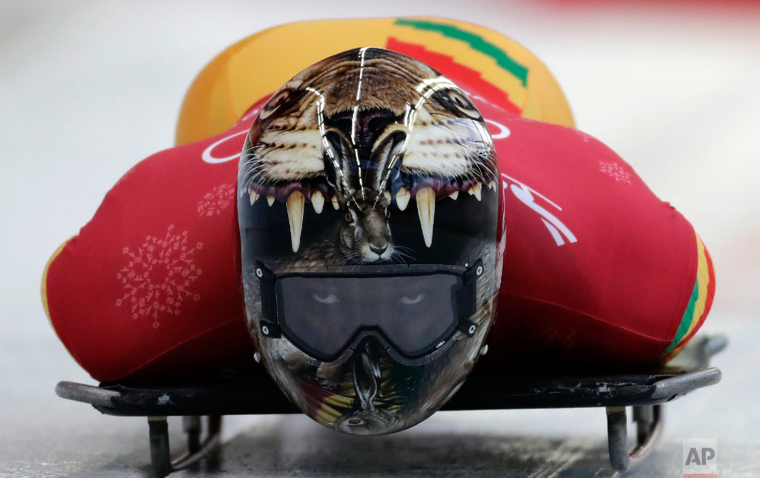 Akwasi Frimpong of Ghana starts his practice run during the men's skeleton training at the 2018 Winter Olympics in Pyeongchang, South Korea, Wednesday, Feb. 14, 2018. (AP Photo/Wong Maye-E)