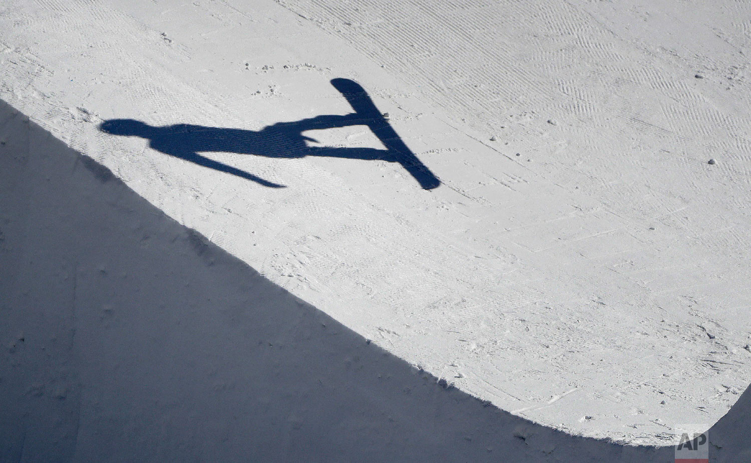 JeromeLymann, of Switzerland, jumps during the men's snowboard cross seeding run at Phoenix Snow Park at the 2018 Winter Olympics in Pyeongchang, South Korea, Thursday, Feb. 15, 2018. (AP Photo/Gregory Bull)