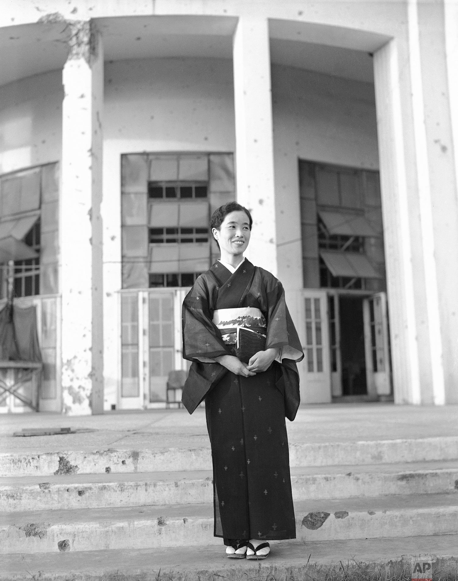 Fujiko Homma, wife of Lt. Gen. Masaharu Homma, accused war criminal now on trial for his life in Manila, Philippines, arrived in Manila on Jan. 17, 1946, to appear as a character witness for her husband. (AP Photo/Max Desfor)