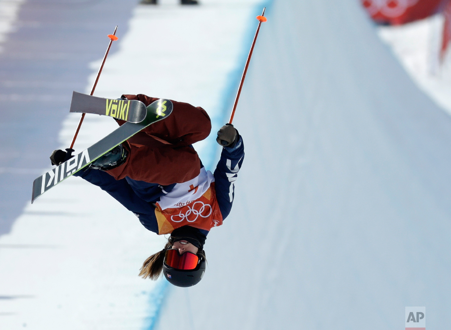Maddie Bowman, of the United States, jumps during the women's halfpipe final at Phoenix Snow Park at the 2018 Winter Olympics in Pyeongchang, South Korea, Tuesday, Feb. 20, 2018. (AP Photo/Kin Cheung)