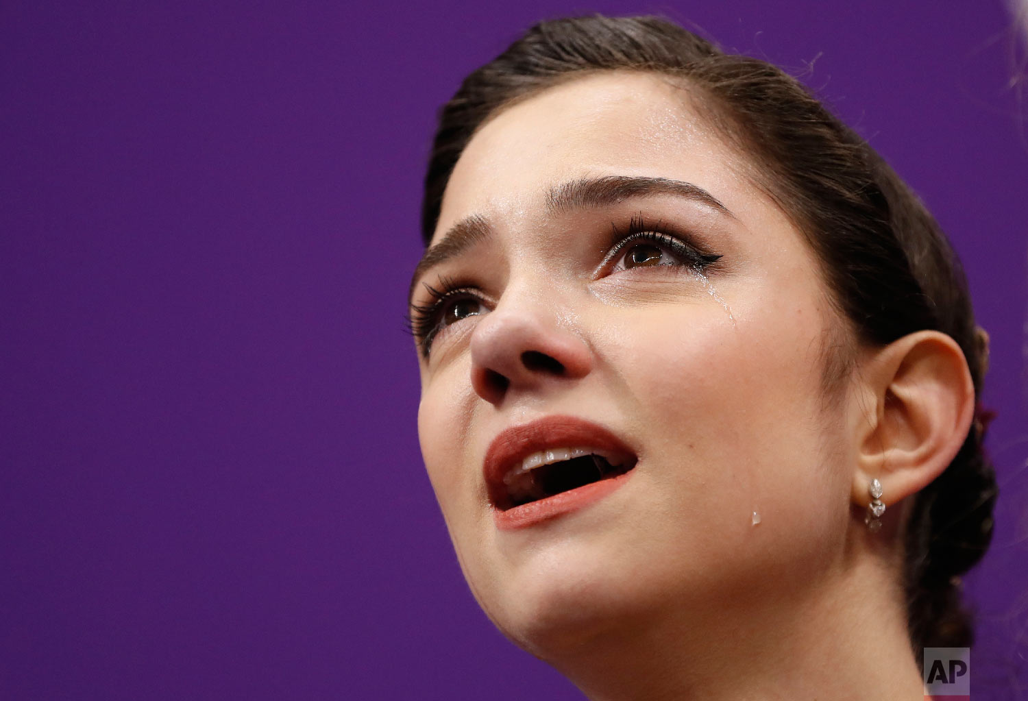 Evgenia Medvedeva of the Olympic Athletes of Russia reacts as her scores are posted following her performance in the women's free figure skating final in the Gangneung Ice Arena at the 2018 Winter Olympics in Gangneung, South Korea, Friday, Feb. 23, 2018. (AP Photo/Bernat Armangue)