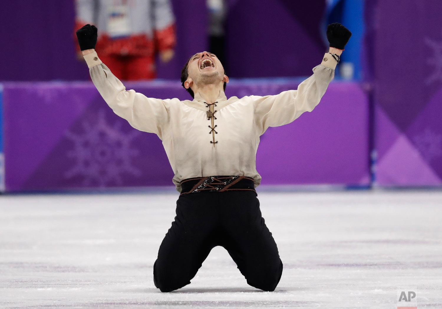 Alexei Bychenko of Israel reacts after his performance in the men's free figure skating final in the Gangneung Ice Arena at the 2018 Winter Olympics in Gangneung, South Korea, Saturday, Feb. 17, 2018. (AP Photo/Bernat Armangue)