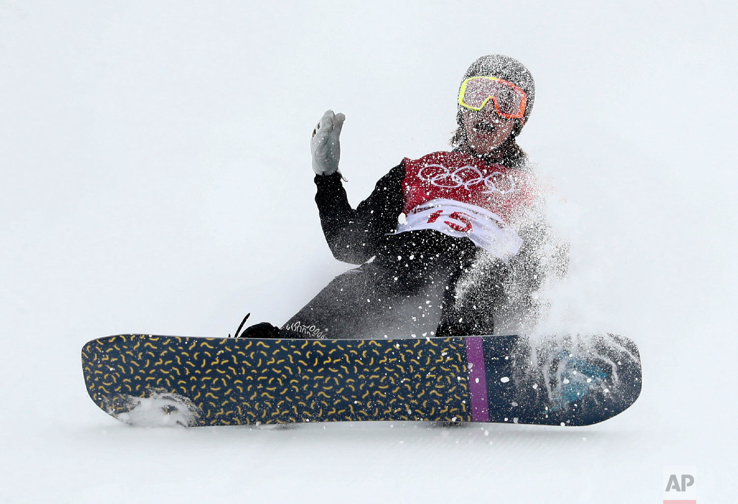 Knight Carlos Garcia, of New Zealand, crashes during the men's Big Air snowboard competition at the 2018 Winter Olympics in Pyeongchang, South Korea, Saturday, Feb. 24, 2018. (AP Photo/Matthias Schrader)