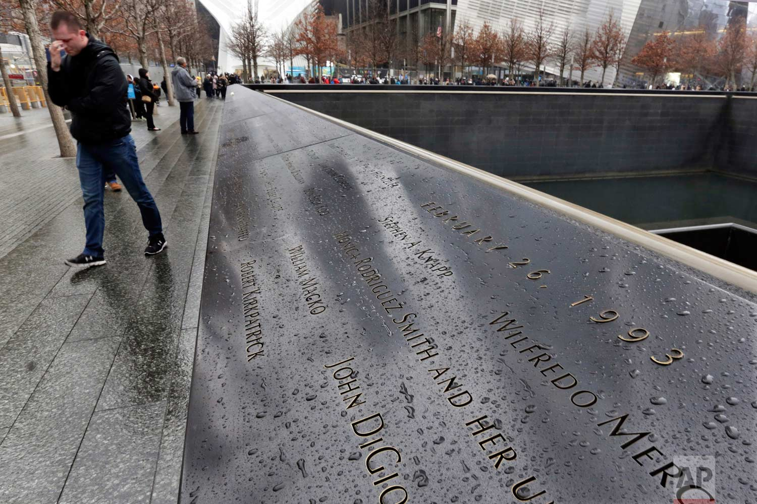 The names of the six people who died in the Feb. 26, 1993 truck bomb attack at the World Trade Center are inscribed in the bronze border of the north reflecting pool of the National September 11 Memorial, in New York, Friday, Feb. 23, 2018. It was a terror attack that foreshadowed Sept. 11: the deadly World Trade Center bombing that happened 25 years ago Monday. (AP Photo/Richard Drew)