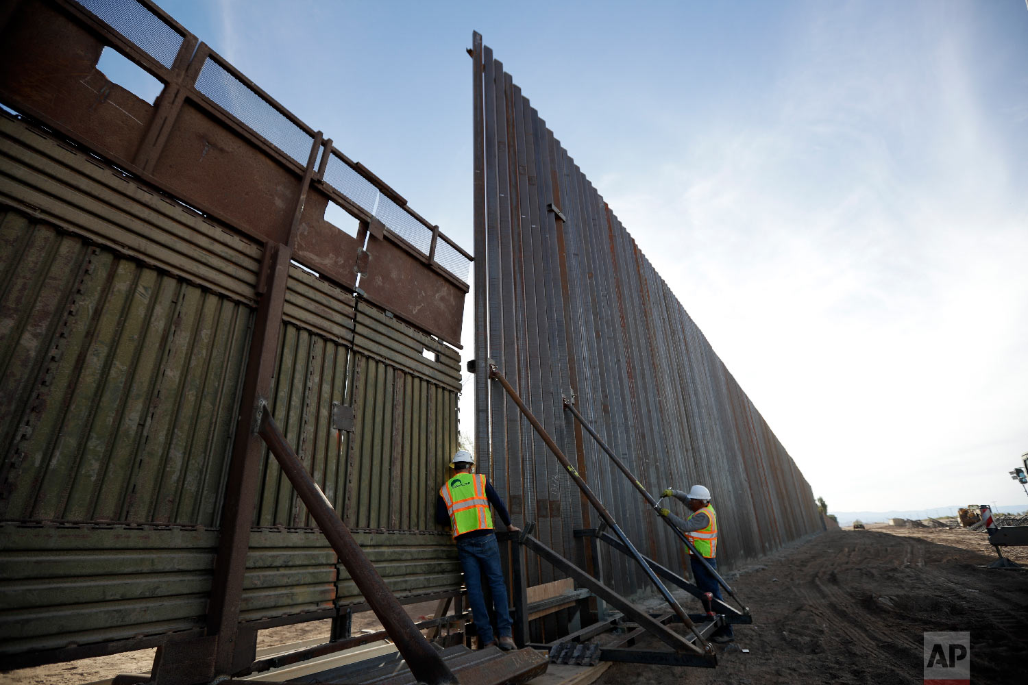 The first section of a new structure along the border separating Mexicali, Mexico and Calexico, Calif., March 5, 2018.