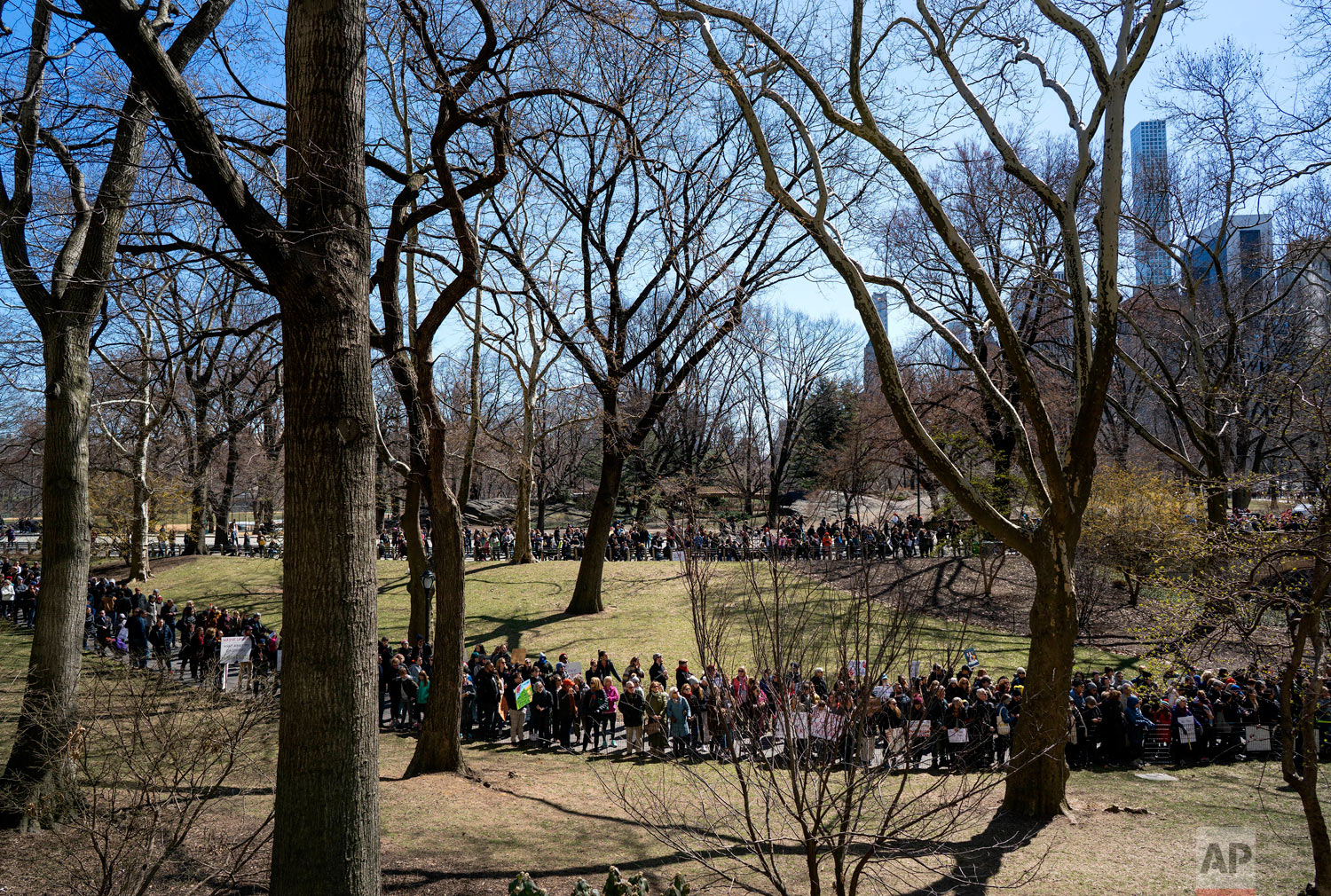 An overflow crowd gathers in Central Park as people take part in a march and rally against gun violence along nearby Central Park West Saturday, March 24, 2018, in New York. Students and activists across the country planned events n conjunction with a Washington march spearheaded by teens from Marjory Stoneman Douglas High School in Parkland, Fla., where 17 people were killed in February.  (AP Photo/Craig Ruttle)